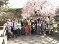"Students at the Missouri Botanical Garden for ""hanami"""
