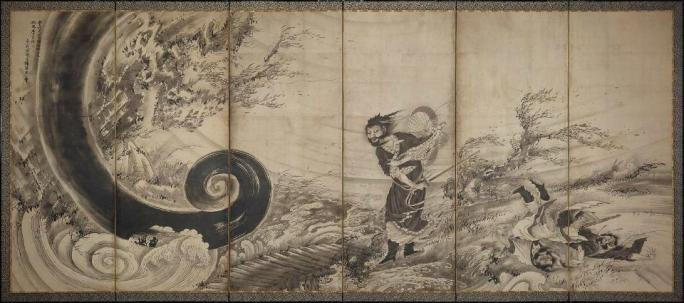 Soga Shohaku (1730-1781), Transcendent Attacking a Whirlwind, ca. 1764; six-panel folding screen; ink and light gold on paper (Museum of Fine Arts, Boston; 11.4510)