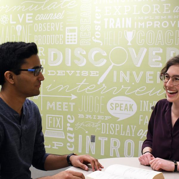 A student talks with advisor about careers